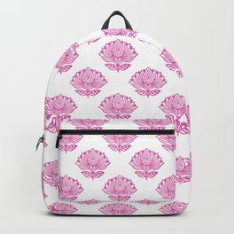 Pink Indian Woodblock Lotus Pattern Backpack