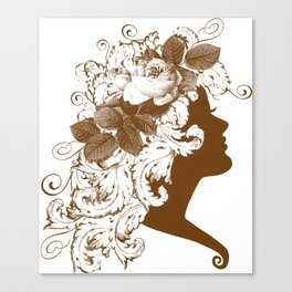 Acanthus Leaf w Rose Lady  Canvas Print