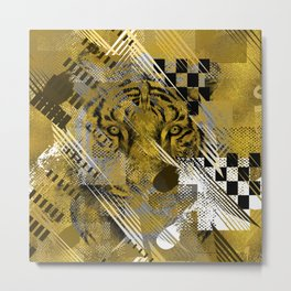 Tiger in gold Abstract Digital art Metal Print