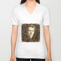 bowie V-neck T-shirts featuring Bowie by Little Bunny Sunshine