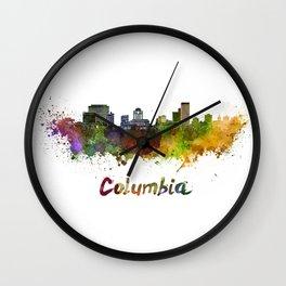 Columbia skyline in watercolor Wall Clock