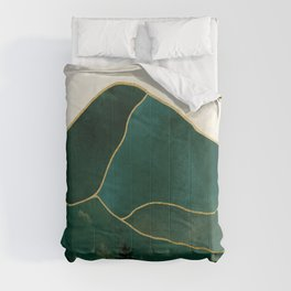 Mt Hood Emerald Mountain Abstract Comforters