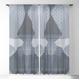 The Japanese Princess - Muted Blue Sheer Curtain