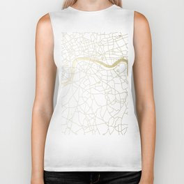 London White on Gold Street Map Biker Tank