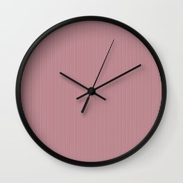 Deep Red Pear and White Vertical Thin Pinstripe Pattern Wall Clock