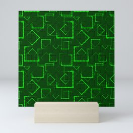 Lime carved squares and frames for an abstract green background or pattern. Mini Art Print