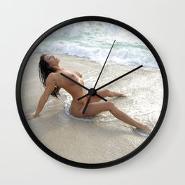 0061-SS Beautiful Naked Woman Nude Beach Sand Surf Big Breasts Long Black Hair Sexy Erotic Art Wall Clock