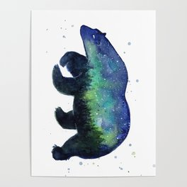 Polar Bear Silhouette with Northern Lights Galaxy Poster