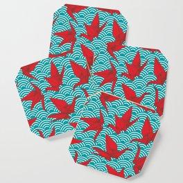 Origami red paper cranes sketch. burgundy maroon line Nature oriental Coaster