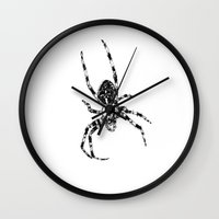 spider Wall Clocks featuring Spider by Laura Chico