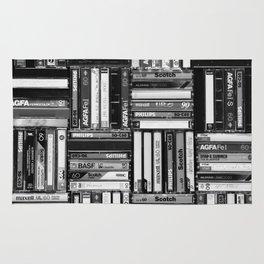 Music Cassette Stacks - Black and White - Something Nostalgic IV #decor #society6 #buyart Rug