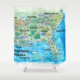 USA Southern States Travel Poster Map Florida Louisiana Mississippi Arkansas Carolinas Georgia Shower Curtain