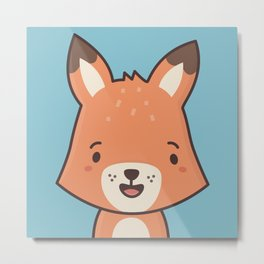 Kawaii Cute Red Fox Metal Print