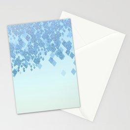 Light Aqua Blue Gradient Faux Glitter Diamonds Stationery Cards