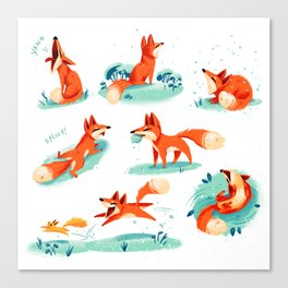 Foxy Poses Canvas Print