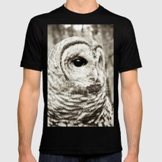 Wise Old Owl Black Mens Fitted Tee MEDIUM