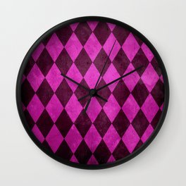Fuchsia Harlequin Grunge Wall Clock