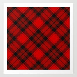 Red Tartan with Diagonal Dark Red and Black Stripes Art Print