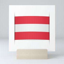 Flag of Austria. The slit in the paper with shadows. Mini Art Print