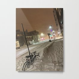 Buried Bike in Portland, Maine Metal Print