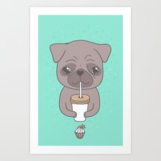 Pug, coffee & cupcake Art Print