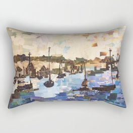 Boats on the Bay Paper Collage Rectangular Pillow