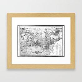 Vintage Map of Cambridge Massachusetts (1877) BW Framed Art Print