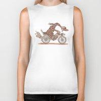 motorbike Biker Tanks featuring Giraffe on a motorbike by schäferhäst
