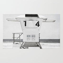 Black and White Beach Photography, Grey Lifeguard Stand, Gray Coastal Nautical Art Rug