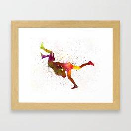 Wrestlers wrestling men 02 in watercolor Framed Art Print