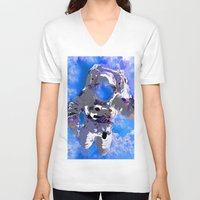 astronaut V-neck T-shirts featuring Astronaut  by Saundra Myles
