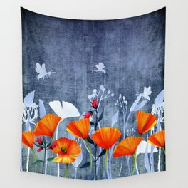 Summer night- Shadow of a Poppy meadow- Flowers Wall Tapestry