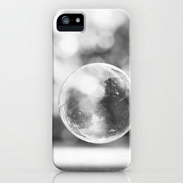 Black and White Bubble Photography, Grey Laundry Art, Gray Bathroom Decor Bubbles Laundry Room Photo iPhone Case