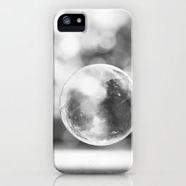 Black and White Bubble Photography, Grey Laundry Art, Gray Bathroom Decor Bubbles Laundry Room Photo iPhone Case