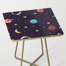 Universe with planets, stars and astronaut helmet seamless pattern 001 Side Table