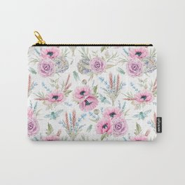 Mauve pink lilac green watercolor cactus roses floral Carry-All Pouch