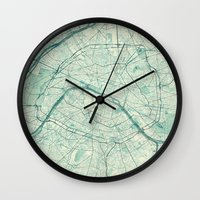 vintage map Wall Clocks featuring Paris Map Blue Vintage by City Art Posters