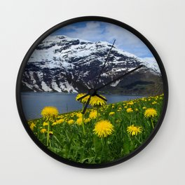 Mountains in spring Wall Clock