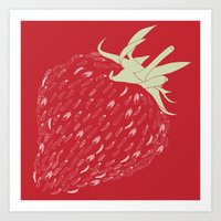 strawberry Art Prints featuring Strawberry by Julia Kisselmann