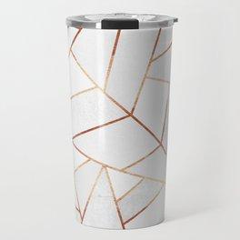 White Stone & Copper Lines Travel Mug