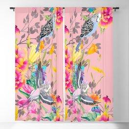 Stardust Pink Floral Birds Motif Blackout Curtain