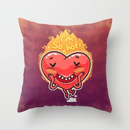 Cute Burning Heart for Valentine's Day Throw Pillow