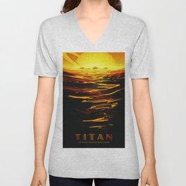 Titan : NASA Retro Solar System Travel Posters Unisex V-Neck