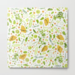 Fruits and vegetables pattern (20) Metal Print