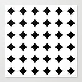 Black stars and white circles Canvas Print