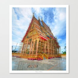 Golden Temple in Bambo Scaffolding Canvas Print