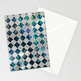 Silver framed abalone pearl shell moroccan pattern Stationery Cards
