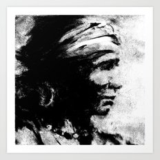 Stark - Native American Indian Portrait in B&W Art Print