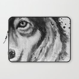 Half-Faced Wolf Close-up Laptop Sleeve