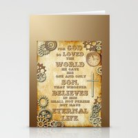 bible verse Stationery Cards featuring Steampunk Bible Verse For God So Loved the World by Whimsy and Nonsense